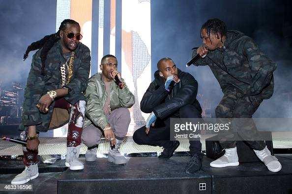 Hiphop artists 2 Chainz Big Sean Kanye West and Travis Scott perform during ROC NATION SPORTS Rn 1st Annual Roc City Classic starring Kevin Durant x...