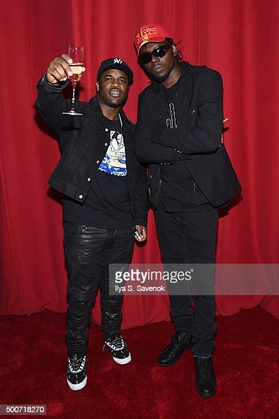 Hiphop artists ASAP Ferg and Theophilus London attend the adidas Originals NMD global unveiling at the 69th Regiment Armory on December 9 2015 in New...