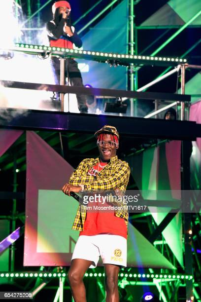 Hiphop artists DRAM and Lil Yachty perform onstage at MTV Woodies LIVE on March 16 2017 in Austin Texas