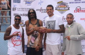 Hiphop artists RayJ and Snoop Dogg NBA player Matt Barnes and sprinter Bryshon Nellum attend the First Annual Celebrity Flag Football Game on August...
