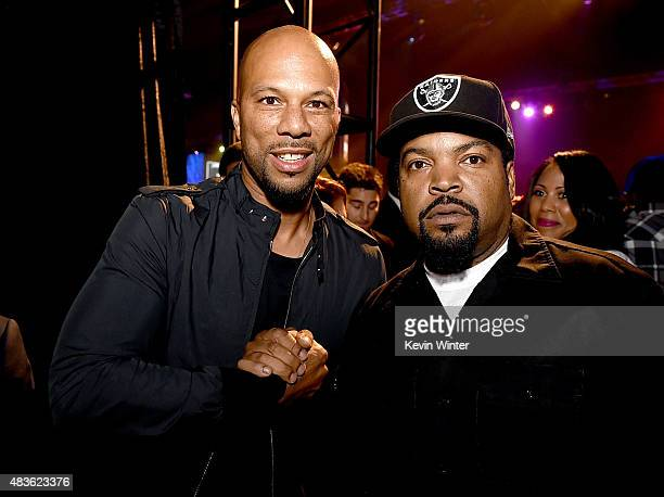 Hiphop recording artist Common and rapper Ice Cube pose at the after party for the premiere of Universal Pictures and Legendary Pictures' 'Straight...