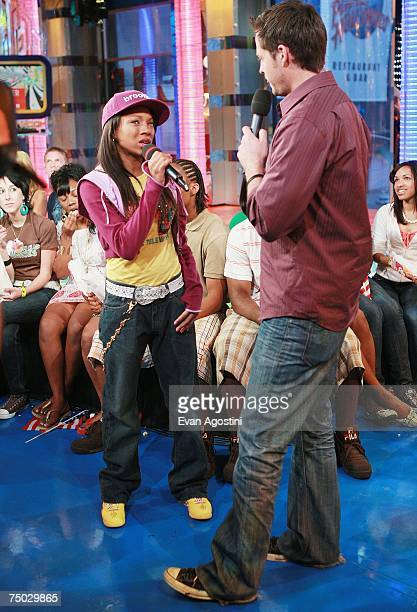 OUT* Hiphop recording artist Lil Mama chats with VJ Damien Fahey on MTV's Total Request Live at MTV Studios July 3 2007 in New York City