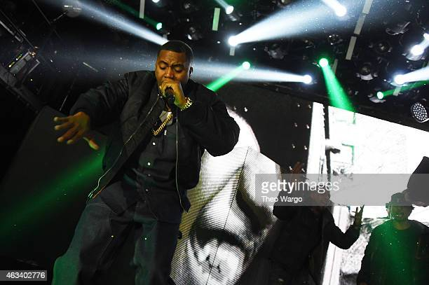 Hiphop superstar Nas performs at the Sprite Obey Your Thirst Concert at Irving Hall in New York City on Friday Feb 13 TheÊconcert also featured...