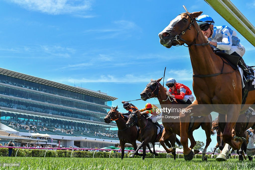Hipparchus (GB) ridden by Ben Melham wins the VRC Young Members' Handicap at Flemington Racecourse on January 28, 2017 in Flemington, Australia.