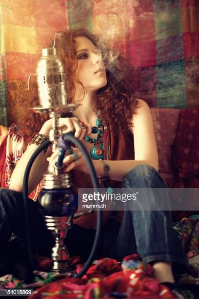 hippie girl smoking hookah