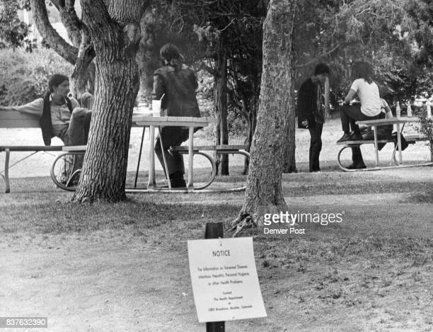 AUG 20 1969 AUG 21 1969 'Hippie' Type Youths Lounge At Park Picnic Tables Near Warning Signs In Boulder's Central Park An estimated 200 allegedly...