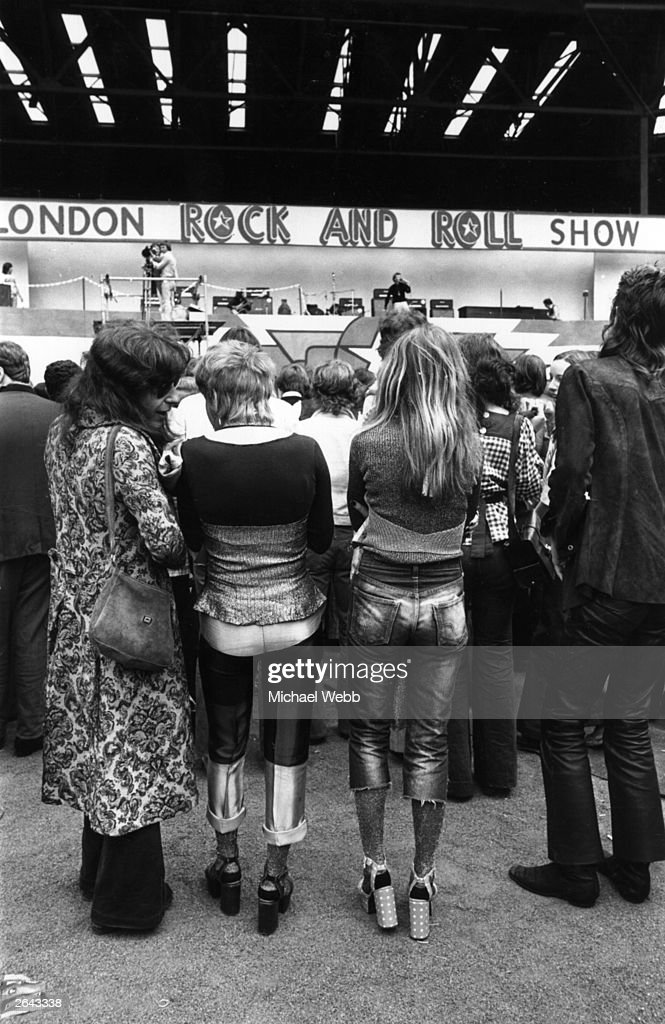 Hippies and rockers together at the rock 'n' roll Revival Show, held at Wembley Stadium, London.