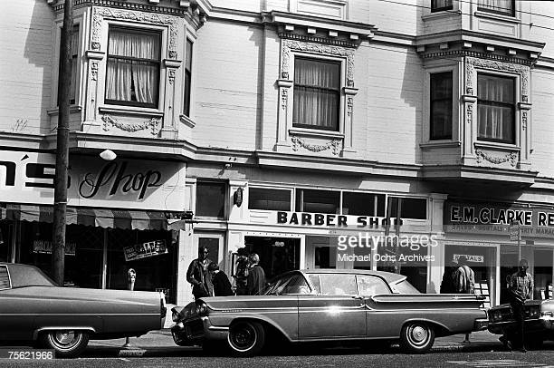 Hippies lounge in front of local establishments in the HaightAshbury disctrict in San Francisco California in the early summer 1967