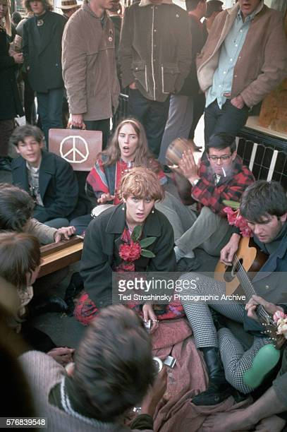 Hippies singing during the Summer of Love in Haight Ashbury