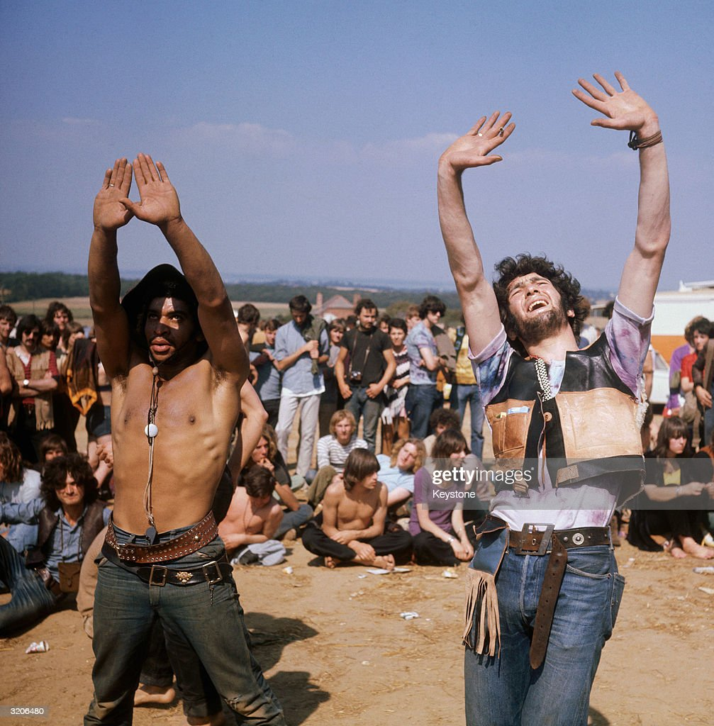 Hippies students and music lovers at East Afton Farm near Freshwater during the Isle of Wight pop festival