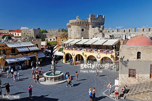 Hippocrates Square Old Town Rhodes Town Stock Photo ...