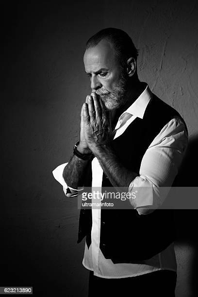 Hipster Bearded lumbersexual   Attitude senior men    Individuality  portrait