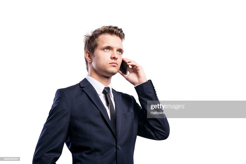 Hipster Geschäftsmann mit Smartphone : Stock-Foto