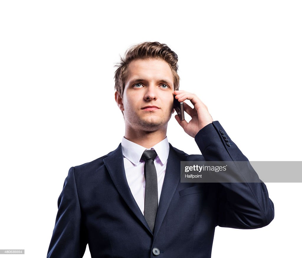 Hipster businessman with smart phone : Stock Photo