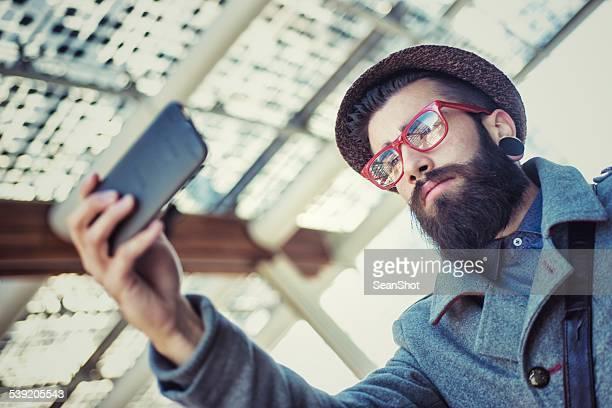Hipster Doing a Selfie