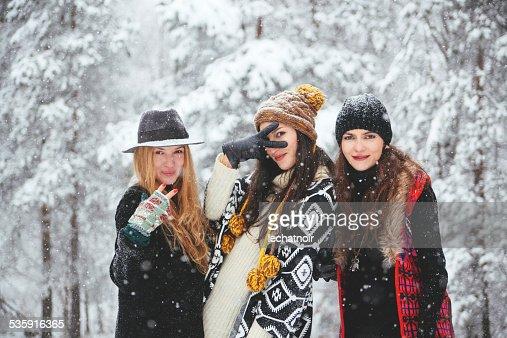 Moda hipster na Neve : Foto de stock