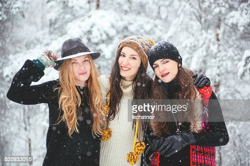 hipster fashion in the snow : Stock Photo