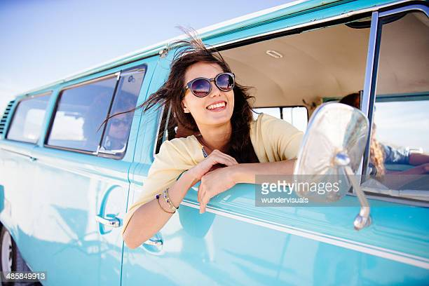 Hipster girl in car
