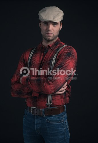a0d9e33d54 Hipster Lumberjack Fashion Man Wearing Red Checkered Shirt And Cap ...