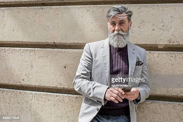 Hipster senior man portrait