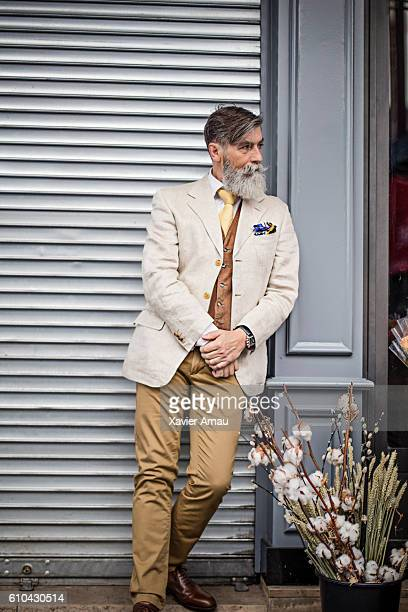 Hipster senior man waiting in Paris