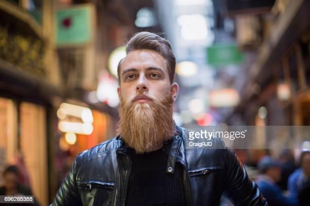Hipster Walking Through Melbourne Laneways
