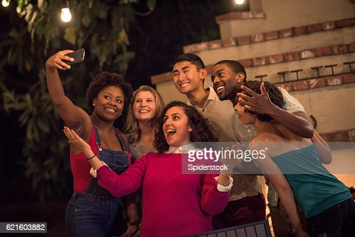 Hipster Backyard Bbq : Hipsters Taking a Selfie at a Summer Backyard BBQ
