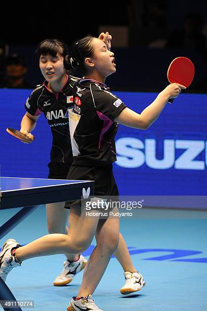 Hirano Miu and Ito Mima of Japan reacts against Kim Hye Song and Ri Mi Gyong of DPR Korea during Women's doubles final match of the 22nd 2015 ITTF...