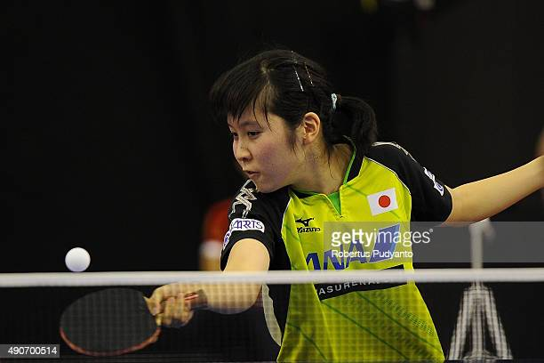 Hirano Miu of Japan competes against Ri Mi Gyong of DPR Korea during Women's singles second round match of the 22nd 2015 ITTF Asian Table Tennis...