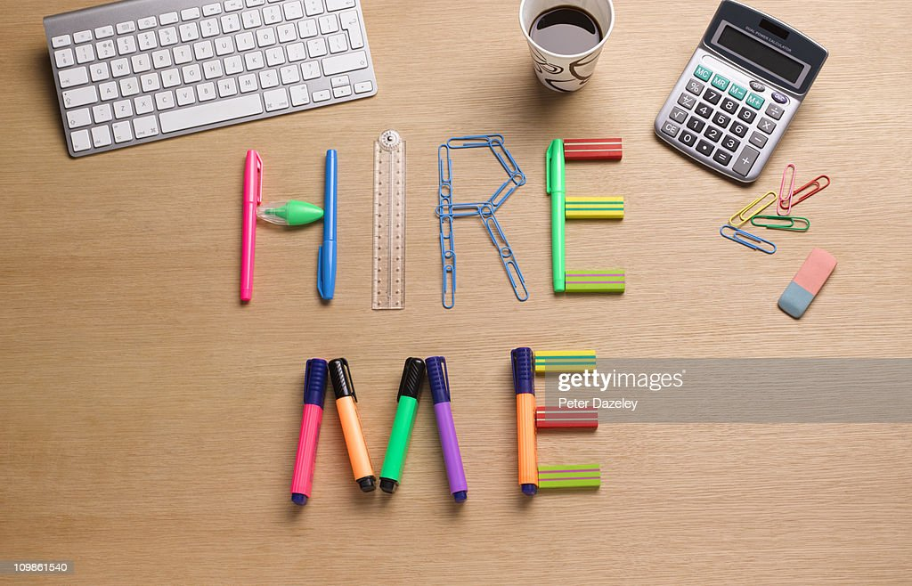 Hire me office desk : Stock Photo