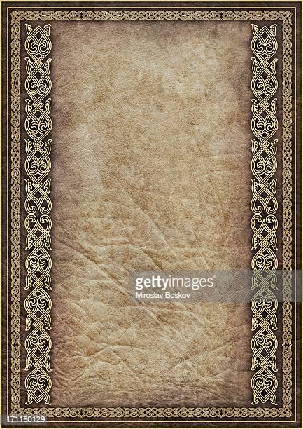 Hi-Res Pergaminho antigo com Medieval quadro decorativo ouro Linear de Arabesque
