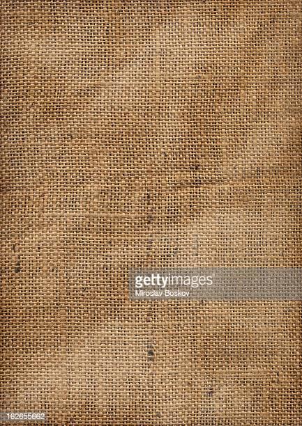 Hi-Res Old Coarse Wrinkled Burlap Fabric Vignette Grunge Texture