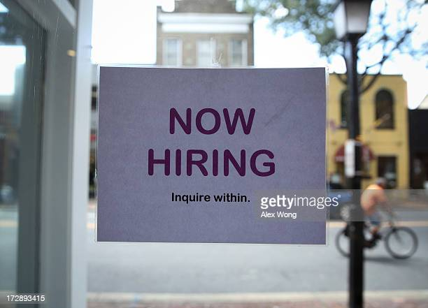 A hiring sign is seen July 5 2013 in Old Town Alexandria Virginia The Labor Department reported that US economy has added 195000 jobs in June with...