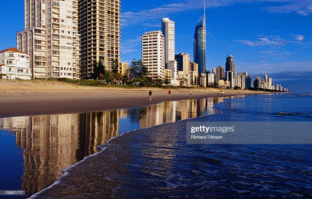 Hi-rise apartment buildings and Surfers Paradise beach. : Stock Photo