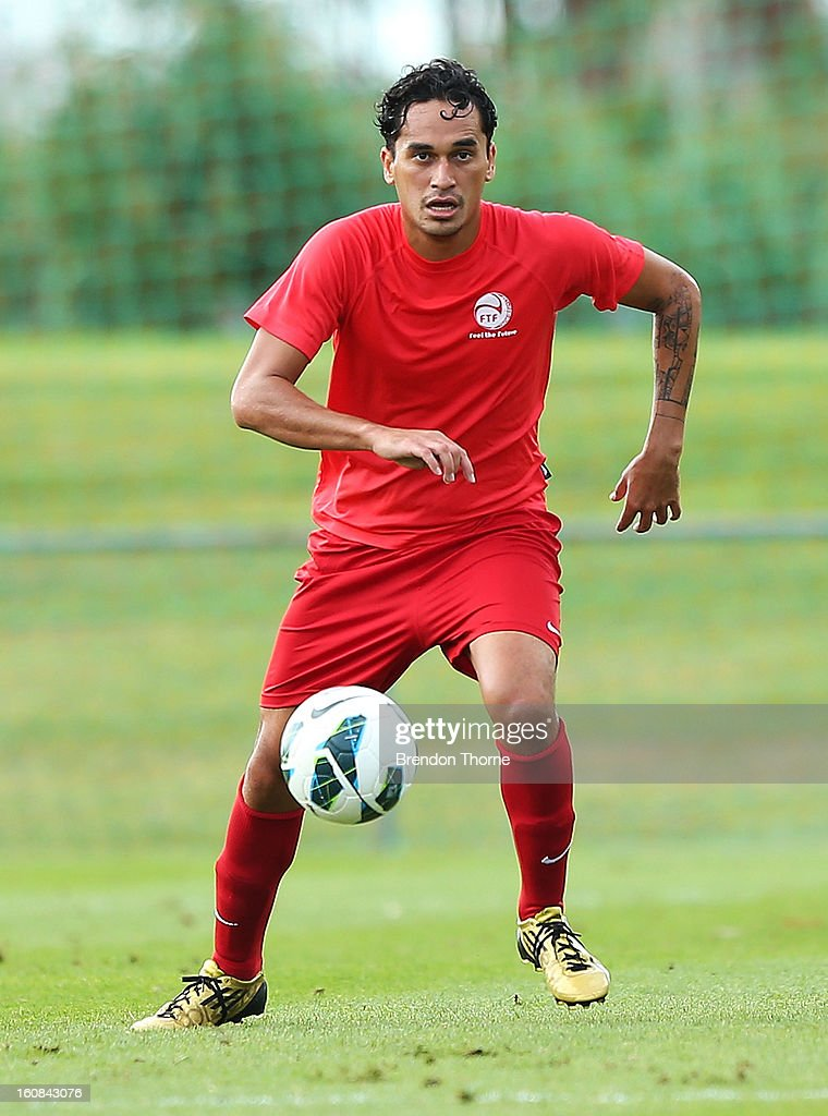 Hiro Poroiae of Tahiti controls the ball during the friendly match between Sydney FC and Tahiti at Macquarie Uni on February 6, 2013 in Sydney, Australia.