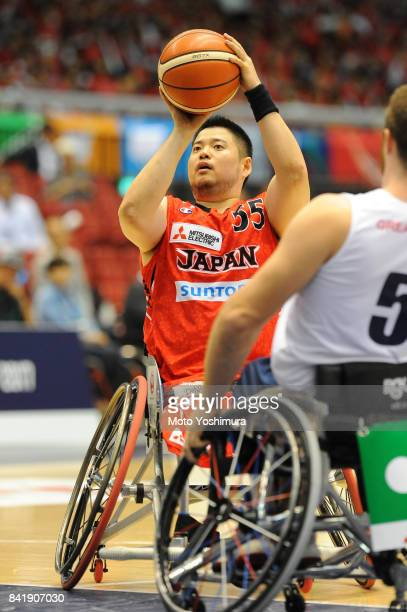 Hiroaki Kozai of Japan shoots during the Wheelchair Basketball World Challenge Cup match between Great Britain and Japan at the Tokyo Metropolitan...