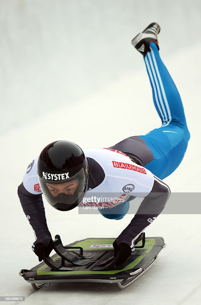 Hiroatsu Takahashi of Japan competes during the man's skeleton first heat of the IBSF Bob & Skeleton World Championship at Olympia Bob Run on February 1, 2013 in St Moritz, Switzerland.