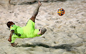 Hirofimi Oda of Japan in action during the Samsung Beach Soccer Intercontinental Cup Dubai 2014 match between Japan and Russia at Dubai International...