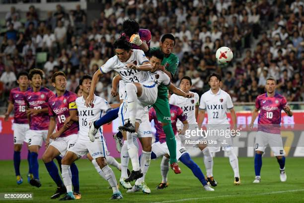Hirofumi Watanabe of Vissel Kobe heads the ball to score the opening goal during the JLeague J1 match between Vissel Kobe and Kashima Antlers at...