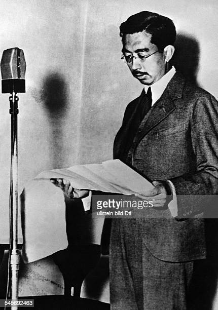 Hirohito Emperor of Japan during a broadcast asking the Japanese citizens to reduce their consumption of food