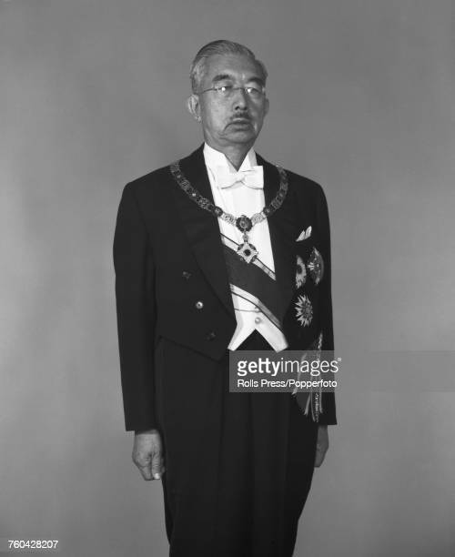 Hirohito Emperor Showa of Japan pictured wearing formal evening dress chain of office and Imperial insignia in Japan in October 1971