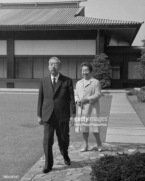 Hirohito Emperor Showa of Japan pictured with his wife Empress Nagako pictured together in the garden of their residence in Japan in October 1971