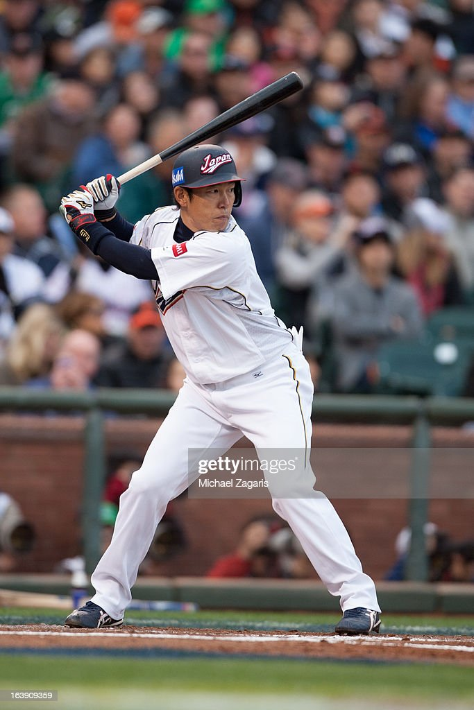 Hirokazu Ibata #3 of Team Japan bats during the semi-final game against Team Puerto Rico in the championship round of the 2013 World Baseball Classic on Sunday, March 17, 2013 at AT&T Park in San Francisco, California.