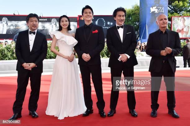 Hirokazu Koreeda Suzu Hirose Koji Yakusho Masaharu Fukuyama and Ludovico Einaudi walk the red carpet ahead of the 'The Third Murder ' screening...