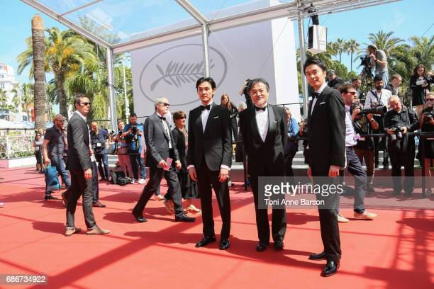 Hiroki Hasegawa Kiyoshi Kurosawa and Ryuhei Matsuda attends the 'Before We Vanish ' screening during the 70th annual Cannes Film Festival at on May...