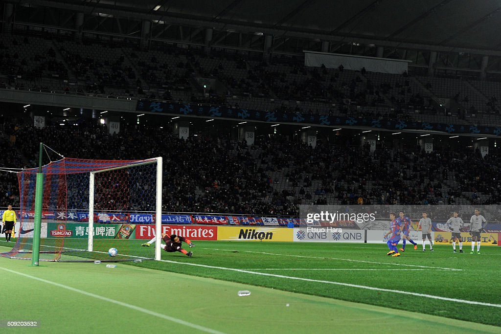 Hiroki Kawano of FC Tokyo scores his team's nineth goal during the AFC Champions League playoff round match between FC Tokyo and Chonburi FC at the Tokyo Stadium on February 9, 2016 in Chofu, Japan.