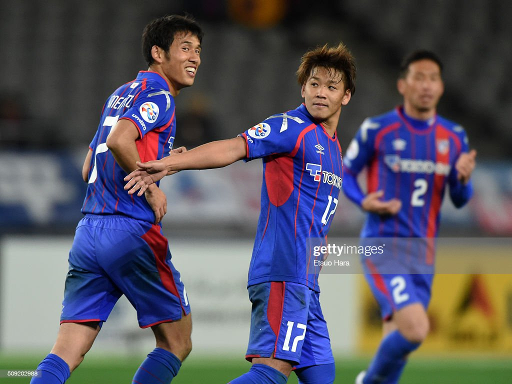 Hiroki Kawano of FC Tokyo#17 celebrates scoring his team's nineth goal during the AFC Champions League playoff round match between FC Tokyo and Chonburi FC at the Tokyo Stadium on February 9, 2016 in Chofu, Japan.
