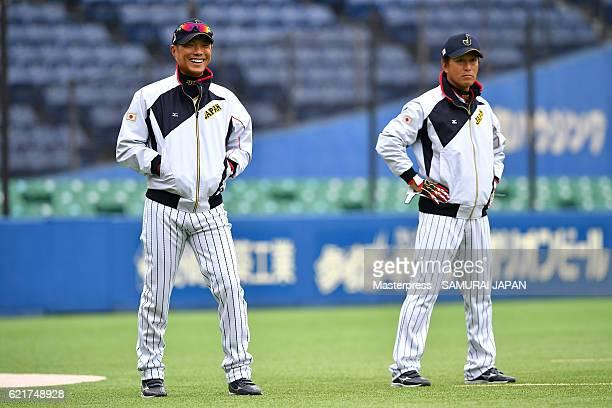Hiroki Kokubo of SAMURAI JAPAN smiles during the Japan national baseball team practice session at the QVC on November 8 2016 in Tokyo Japan
