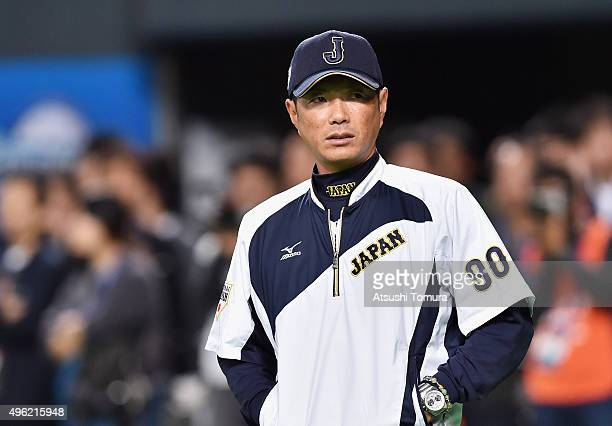 Hiroki Kokubo head coach of Japan looks on during a warm up prior to the WBSC Premier 12 match between Japan and South Korea at the Sapporo Dome on...