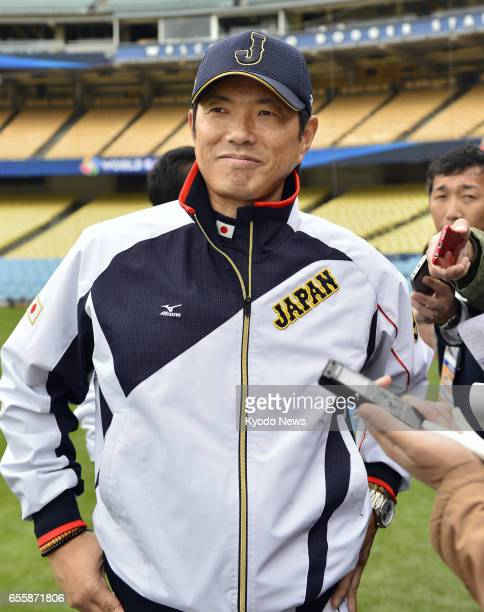 Hiroki Kokubo manager of Japan's World Baseball Classic team meets with reporters in Los Angeles on March 20 prior to a semifinal game against the...